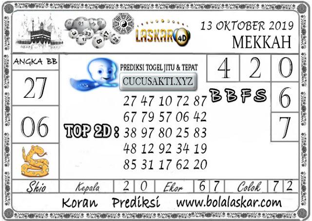 Prediksi Togel MEKKAH LASKAR4D 13 OKTOBER 2019