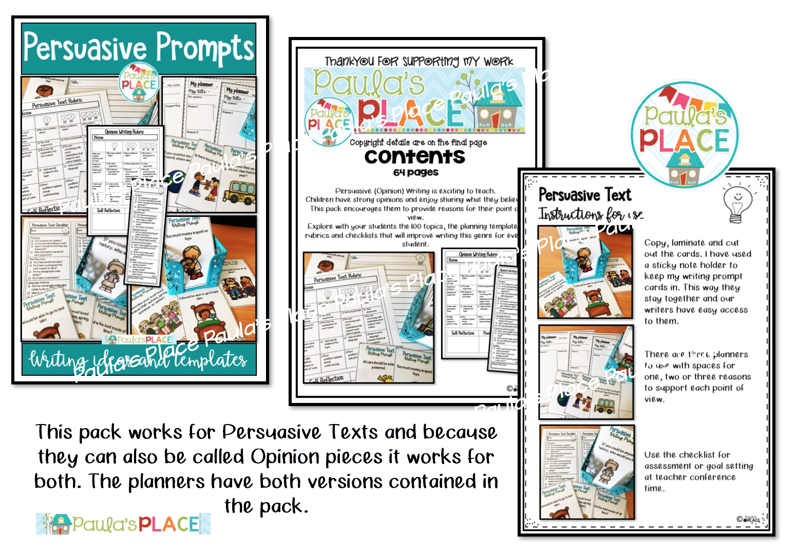 Paula S Place Persuasive And Opinion Writing Prompts