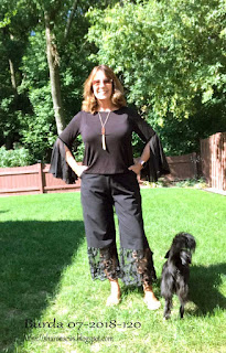 Sharon Sews wearing Burda 07 2018 #120 Pants with Sheer Trim