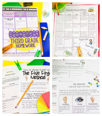 September homework menu and corresponding printables for third grade - great way to differentiate includes editable homework menu so you can personalize for your students!