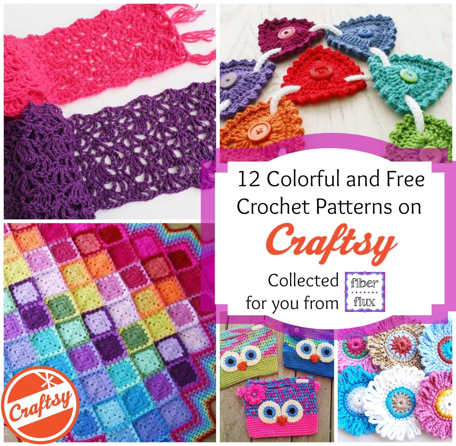 fiber flux 12 free and colorful patterns from craftsy