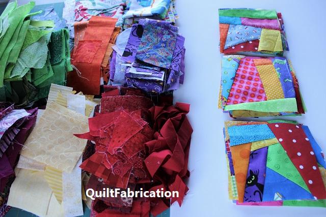 string/scrap blocks for a Bonnie Hunter quilt