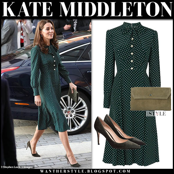 Kate Middleton in green polka dot pussy-bow midi dress l.k. bennett and suede pumps royal family outfit december 11