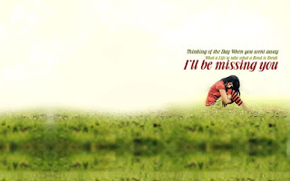 sad girl sitting in the grass field with i will be missing you quote