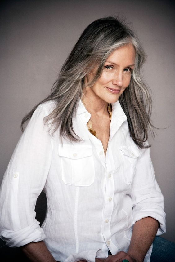 image result for gorgeous grey hair white shirt