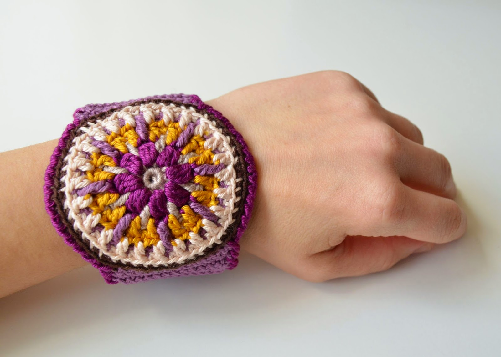 crocheted mandala cuff