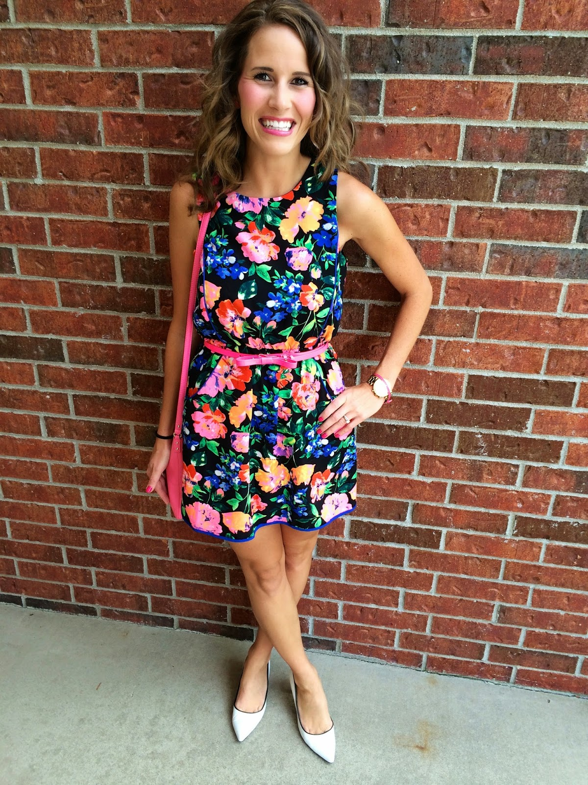 e77fd78041a Hooray for little fashion surprises   hot pink bow belts! Dress  TJ Maxx  Belt  Kate Spade Earrings  Kate Spade Shoes  Steve Madden