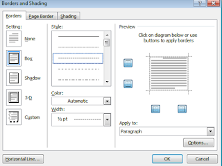 kotak dialog borders and shading