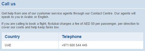 fly dubai uae customer service contact number