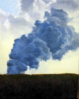 Katherine Kean, Laze, original oil painting, Hawaii, volcano art, steam, clouds, blue, yellow, atmospheric, sunset, contemporary, small