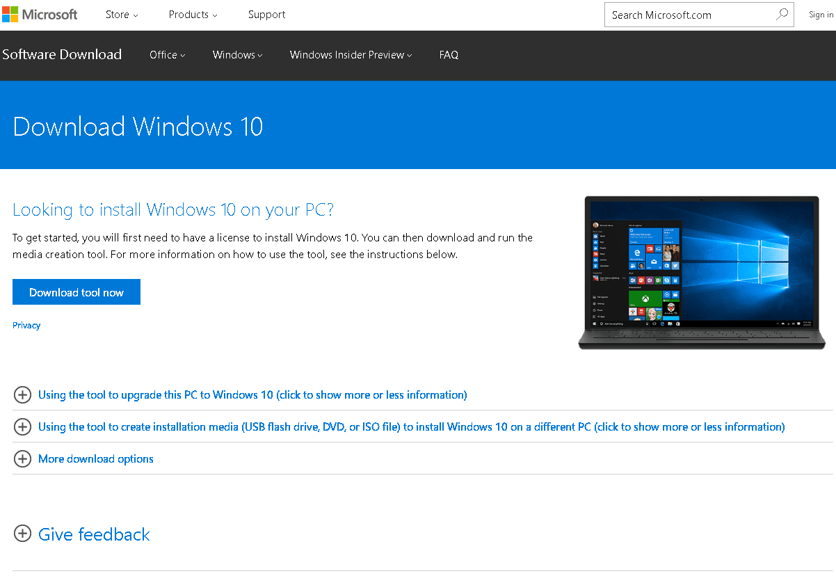 Halaman download windows 10