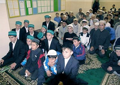 Madrassa students in Khasavyurt, Dagestan