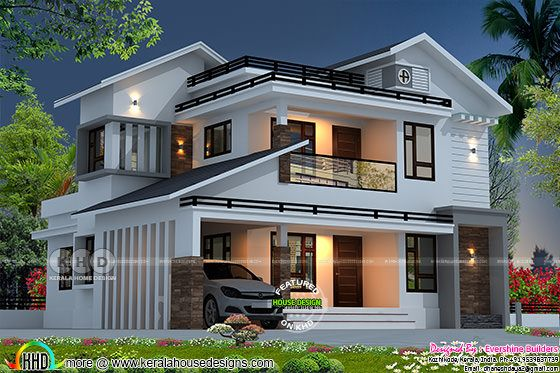 4 bedroom 2879 square feet mixed roof home rendering