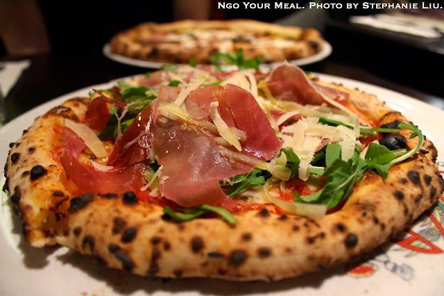 Keste: Tomato Sauce, Imported Buffalo Mozzarella, Prosciutto di Parma, Arugula, Gran Cru, EV Olive Oil at Keste