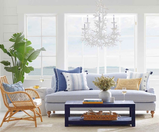 Coastal Living Room with White Coral Chandelier