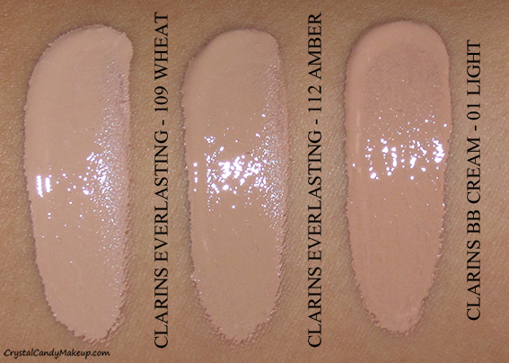 Clarins Everlasting Foundation+ 109 Wheat 112 Amber Swatch