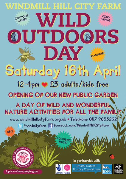 flyer promoting wild outdoors day at windmill hill city farm in bedminster on the edge of bristol