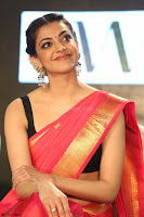 Kajal Aggarwal in Red Saree Sleeveless Black Blouse Choli at Santosham awards 2017 curtain raiser press meet 02.08.2017 061.JPG