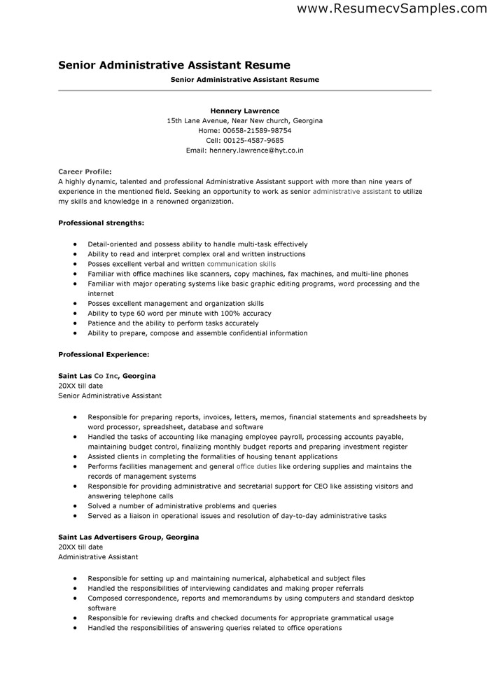 Administrative Assistant Resume Example Sample Resume Sample