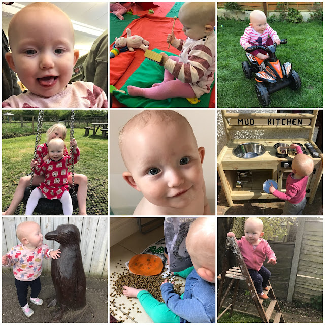 Collage of 9 photographs including: climbing a ladder, helping to feed a cat, kissing a penguin, playing with a mud kitchen, smiling in the bath, on a tyre swing with her big sisters, on a bike and hitting a glockenspiel