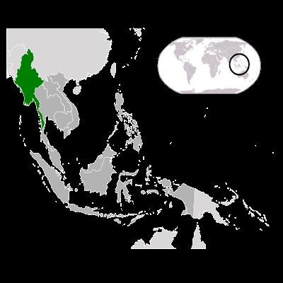 Изображение контуров Мьянмы на карте Мира
