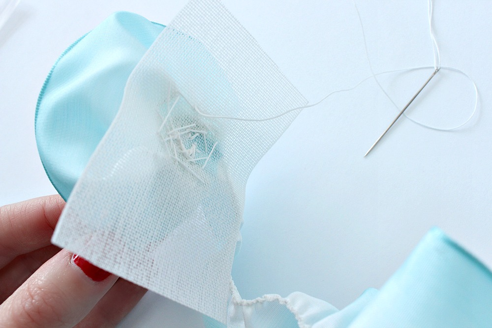 Ribbon rose sewn in buckram