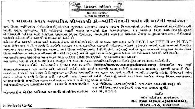 Sarva Shiksha Abhiyan (SSA) Gujarat Recruitment 2017 for 500 CRC Coordinator
