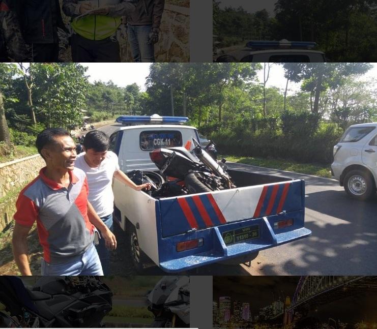 Mobil Daihatsu Ayla terlibat kecelakaan dengan Yamaha YZF R25 . . motor hancur . . mobil terbalik
