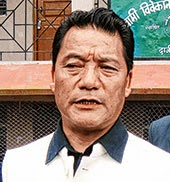Gurung talks to reporters in Darjeeling