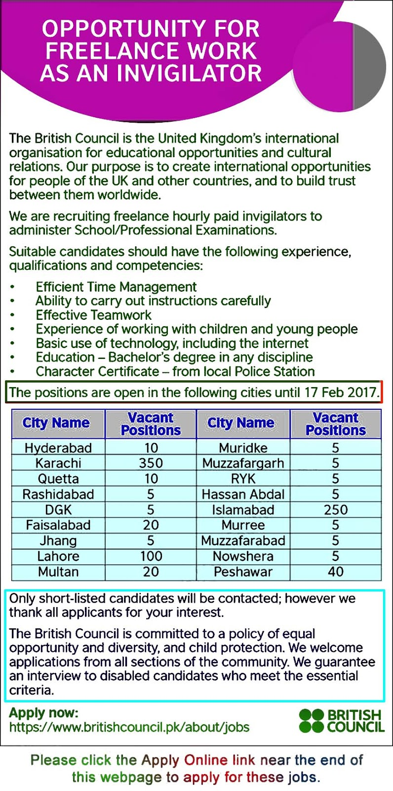 invigilator jobs in british council apply  invigilator jobs in british council 2017 apply online for lance work latest