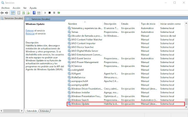 Borrar memoria caché Windows Update en Windows 10