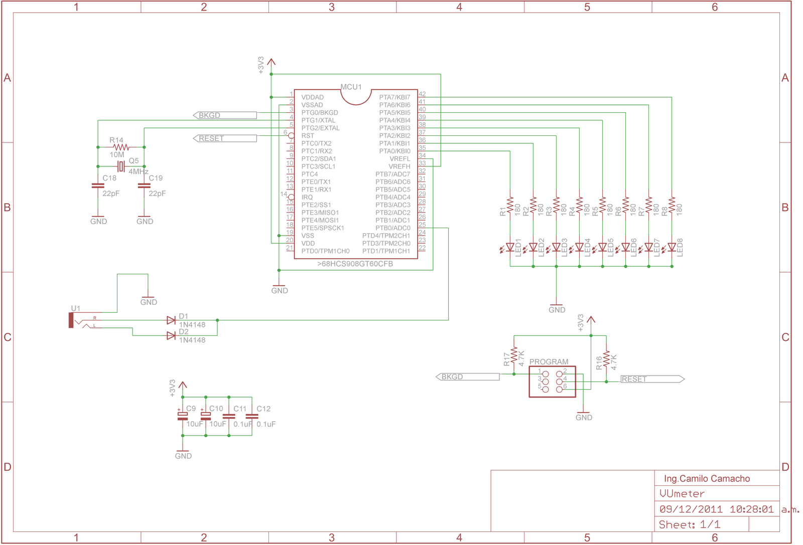 Candelectronica Led Vu Meter En Un Hcs08 De Freescale