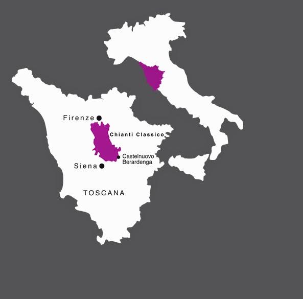 Map of Tuscany & Donna Laura wines Castelnuovo Berardenga
