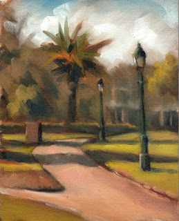 Oil painting of lamp posts and a palm tree in a garden with winding paths.