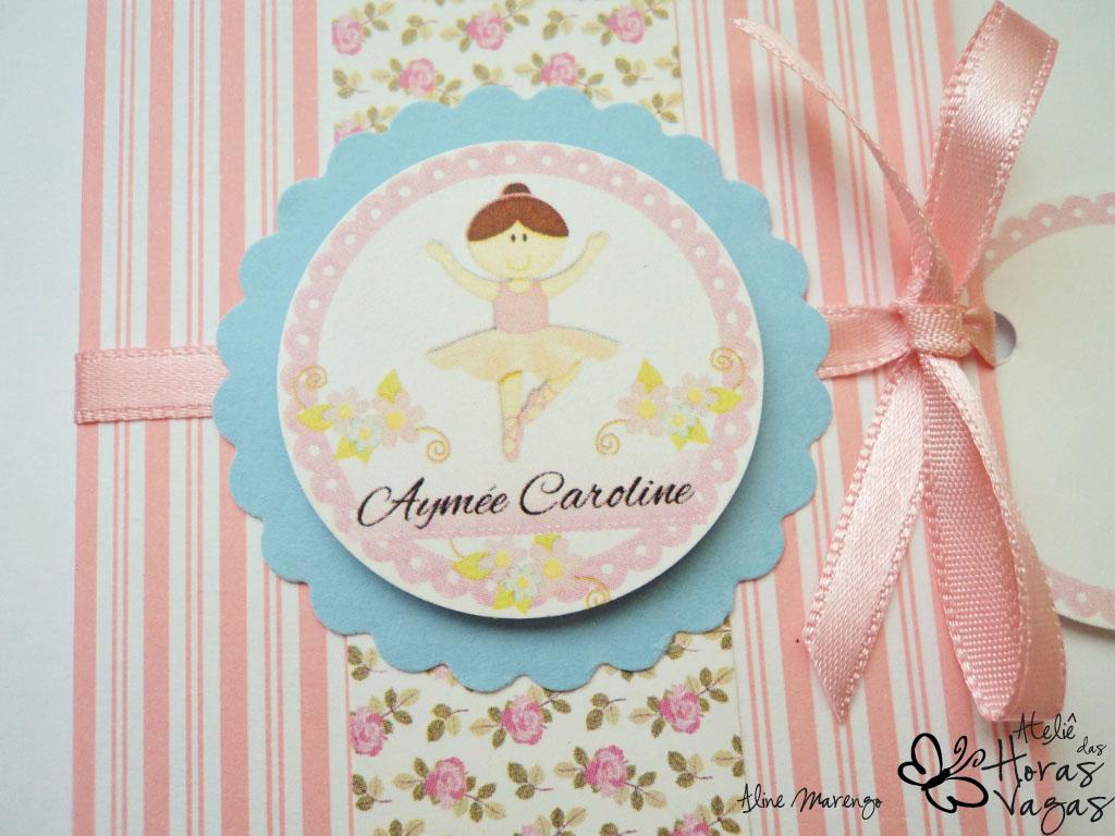 convite artesanal bailarina floral provençal listras rosa azul bebê aniversário 1 aninho