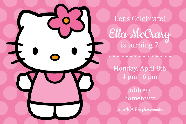 Darling free printable Hello Kitty birthday party invitation for girls. Customizable psd file.