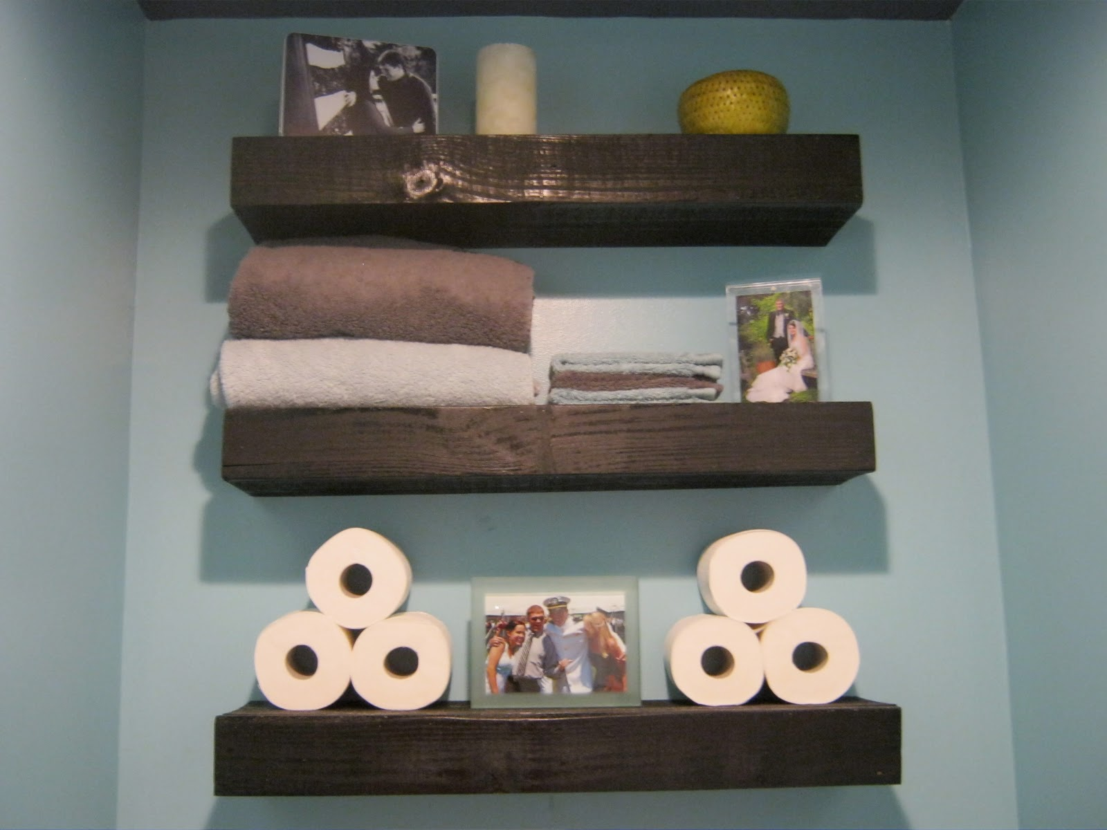 Bathroom shelves decor - And We Also Installed Three Shelves Above The Toilet In The Adjacent