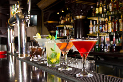 Five cocktails on a bar on Laugavegur street