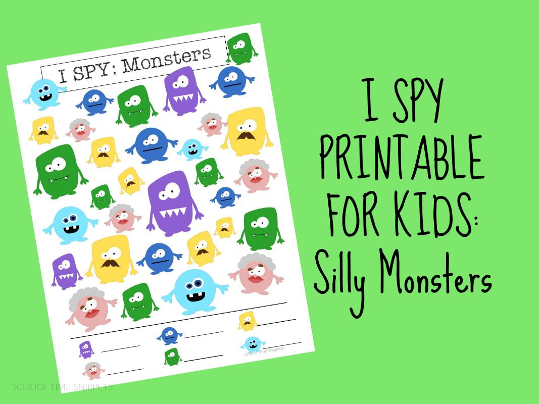 monsters I SPY printable