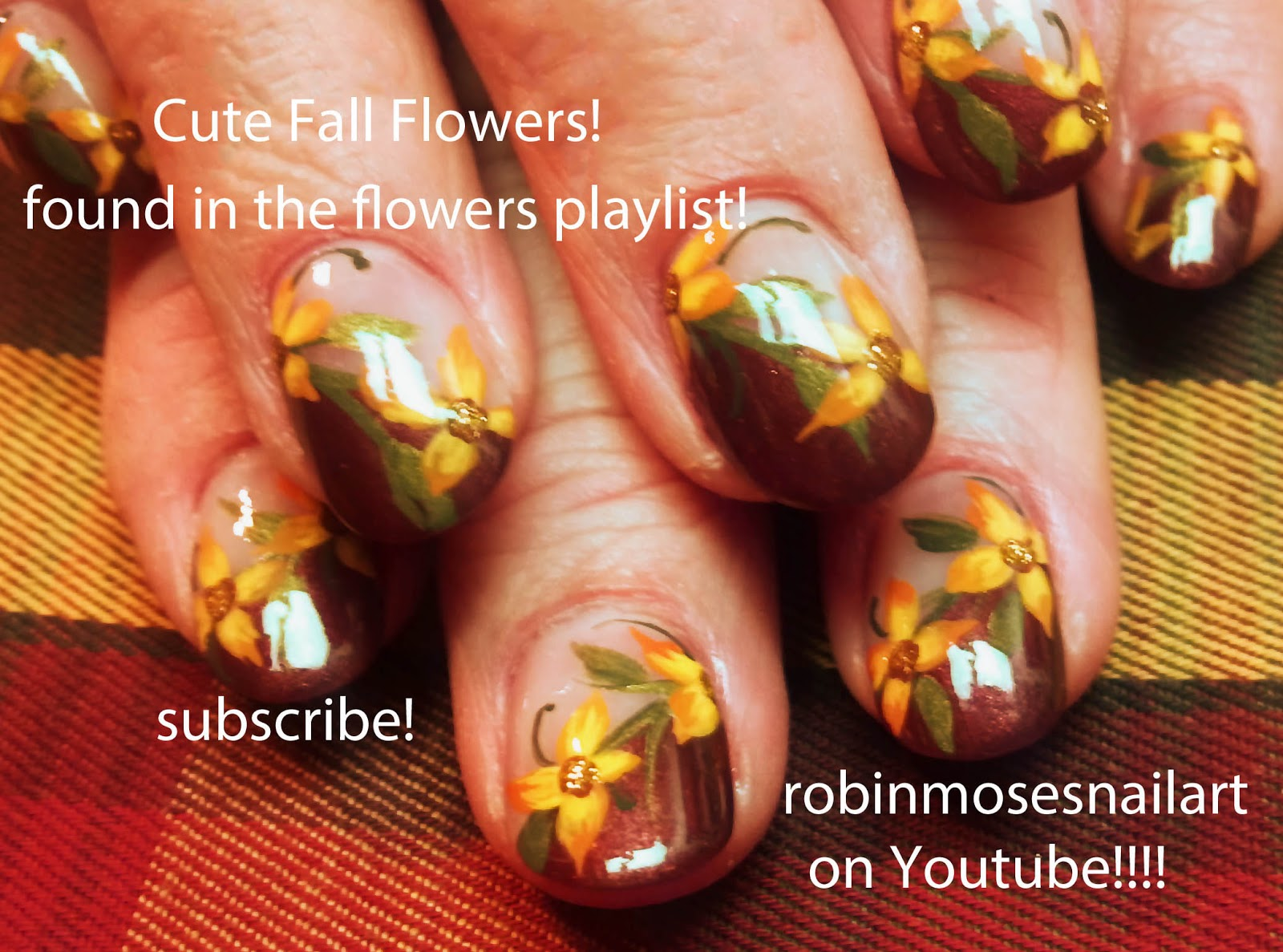 fall flower nail art, fall leaves nail art, autumn flower nail art ...