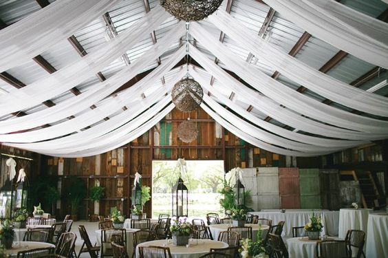 fabric ceiling at wedding