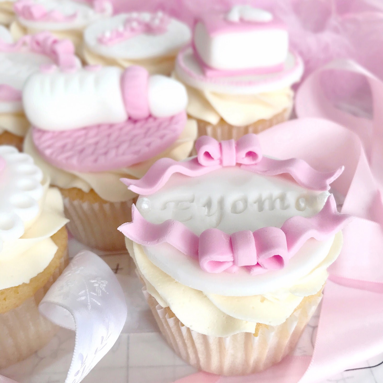 Pretty Ribbon Christening Cupcakes | Love, Catherine