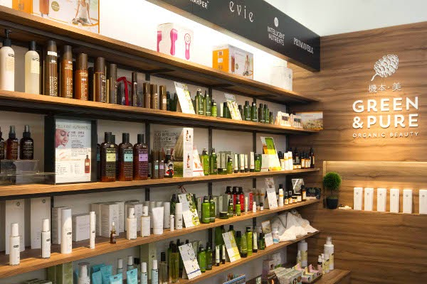 Green & Pure natural and organic beauty store interior