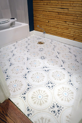 stencil painted ceramic tile floor bathroom