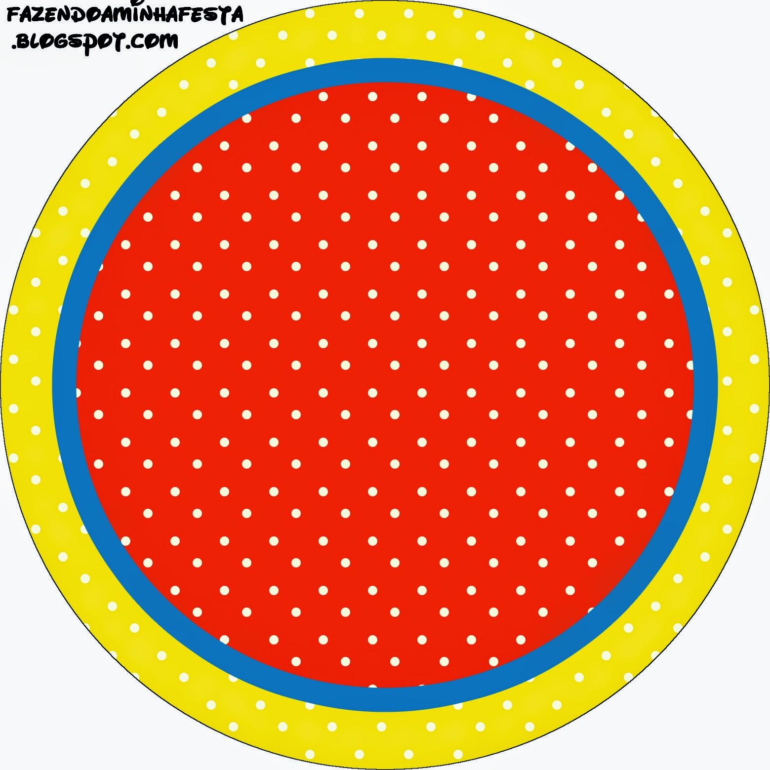 Toppers o Etiquetas para Imprimir Gratis de Rojo, Amarillo y Lunares Blancos.