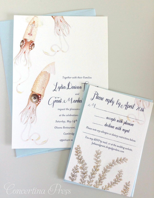 Aquarium Wedding Invitations featuring Squid Illustrations from Concertina Press