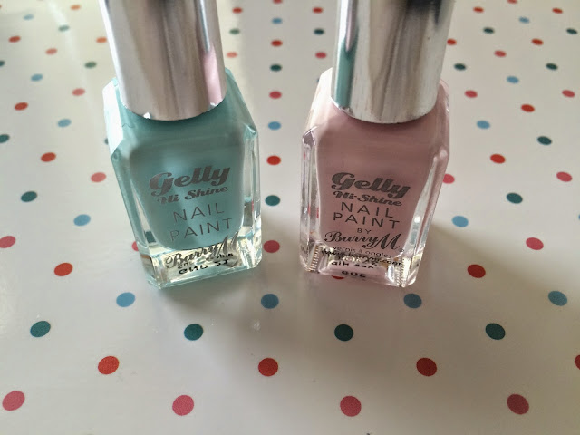 sweet allure spring nails 2015 barry m beauty pink gelly high shine mint green