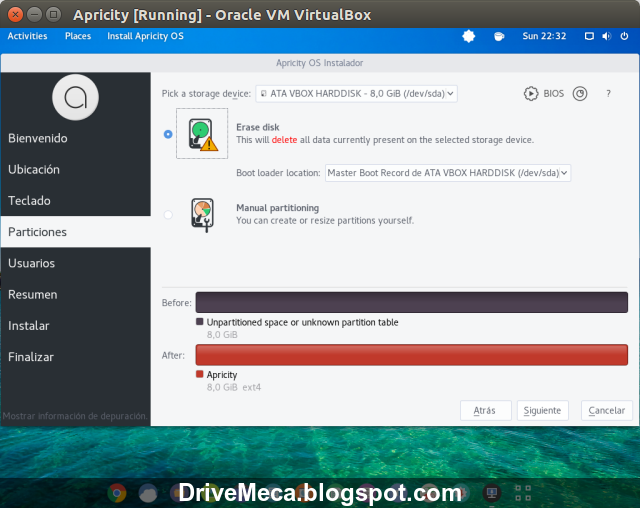 DriveMeca instalando ApricityOS paso a paso