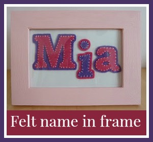 Felt name in frame - Mia