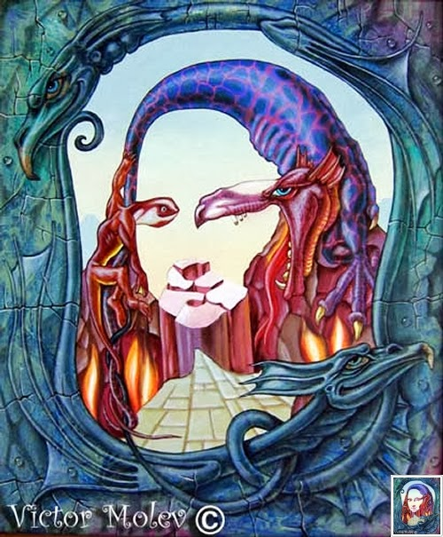 09-Mona-Lisa-Fire-Originally-Created-By-Artist-Leonardo-Da-Vinci-1503-1517-Artist-&-Illustrator-Victor-Molev-www-designstack-co
